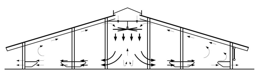 Схема движения воздуха в коровниках
